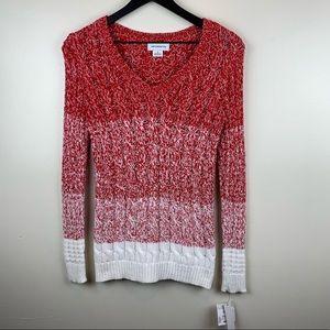 🆕 Liz Claiborne Red White Ombré V-neck Sweater